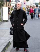 Harajuku Guy in Dark Street Style w/ Yohji Yamamoto & Monomania