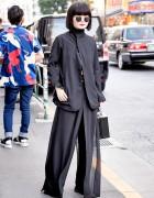 All Black Tokyo Style w/ Yohji Yamamoto Jacket, Sheer Pants & Box Purse