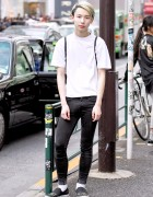 Yoshiaki in Harajuku w/ Green Hair, YRU Shoes, UNIF bag & UNIQLO Skinny Jeans