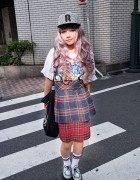 Lavender-Pink Hair, Tartan Skirt & Platform Creepers in Shibuya