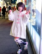Harajuku Girl in ZZZ Oversize Hoodie, Nile Perch, Candye Syrup & ACDC Rag Knee Socks