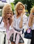 Blonde Japanese Schoolgirls in Shibuya